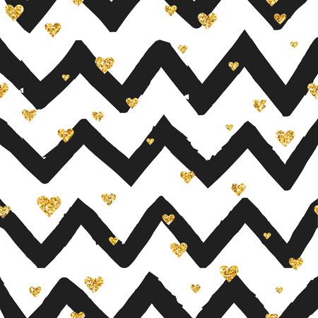 golden heart: Valentines Day Golden Heart Pattern - Seamless Background  Illustration