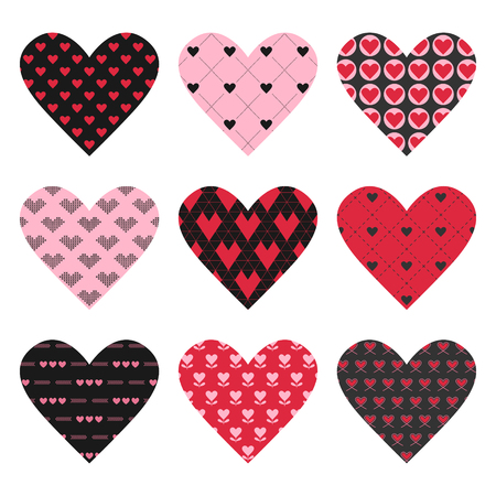 day: Set of Valentines Day Hearts  Illustration