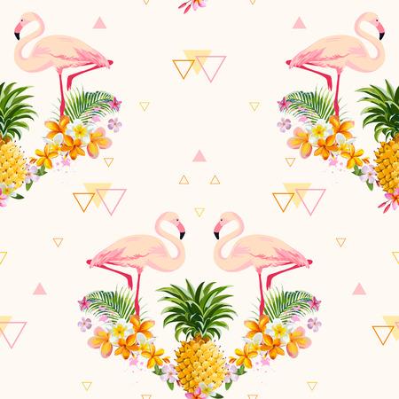 幾何学的なパイナップルとフラミンゴの背景 - シームレスなパターン ベクトル