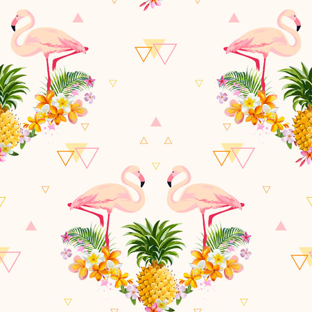 Geometric Pineapple and Flamingo Background - Seamless Pattern in vector