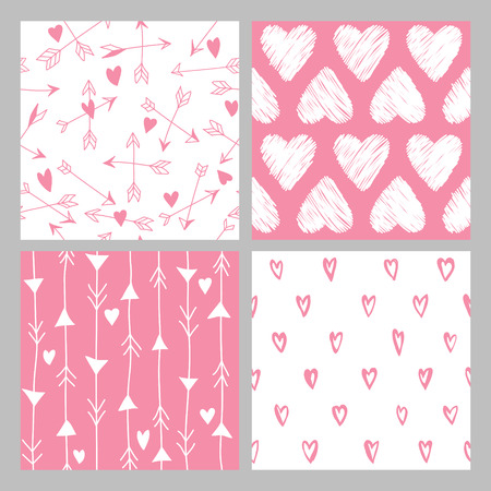 love: Valentines Day Heart Patterns - 4 Seamless Backgrounds - in vector