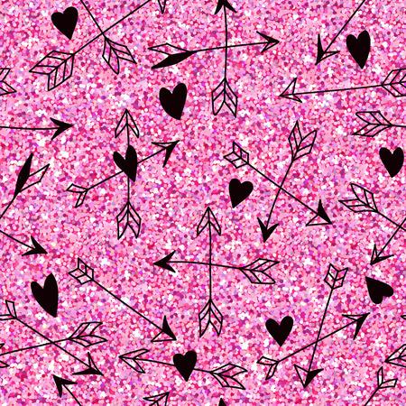 Valentinstag-Herz Pink Glitter-Muster - Nahtlose Hintergrund - in Vektor