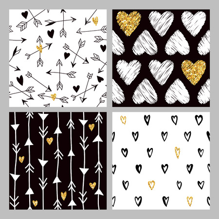 glitter heart: Valentines Day Golden Glitter Heart Patterns - 4 Seamless Backgrounds - in vector