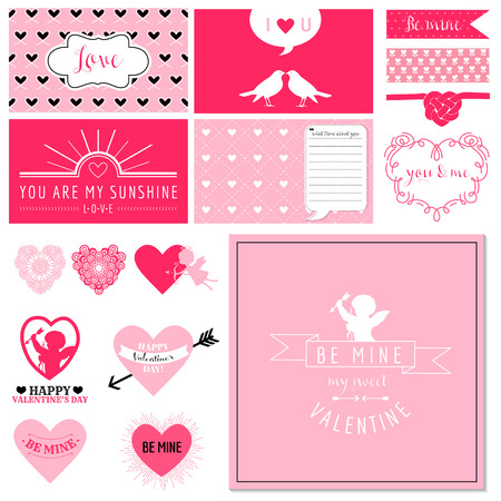 scrapbook: Scrapbook Design Set - Valentines Day Hearts - in vector