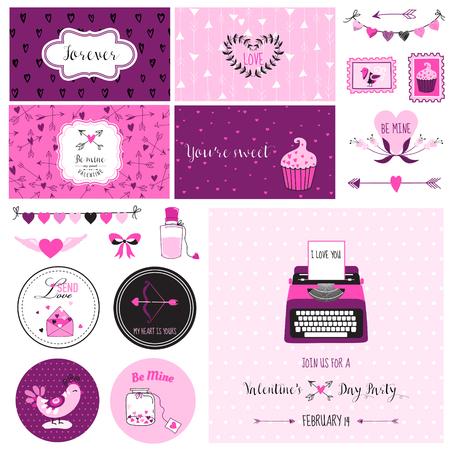 scrap: Cute Valentines Day and Love Scrapbook Set - for design, invitation in vector