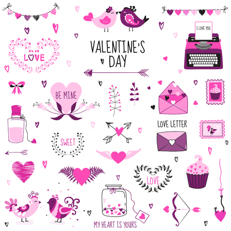 scrap: Cute Valentines Day and Love Set - for design, scrapbooking  in vector