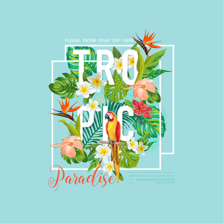 tropical bird: Tropical Bird and Flowers Graphic Design - for t-shirt, fashion, prints - in vector