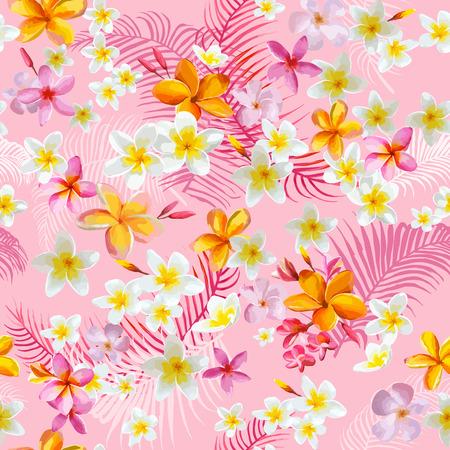열대 꽃과 잎 배경 - 빈티지 원활한 패턴 - 벡터에 일러스트