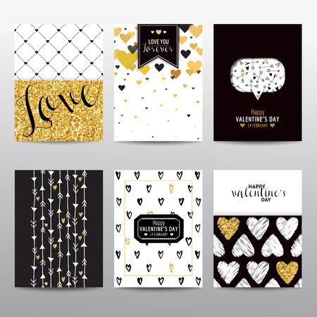 Conjunto de folletos y tarjetas de San Valentín - diseños de época - en el vector