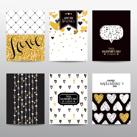 romantic love: Set of Valentines Day Brochures and Cards - vintage layouts - in vector