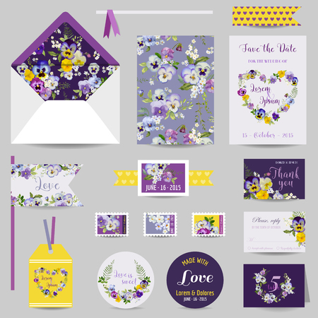 date: Set of Wedding Stationary - Invitation Card, Save the Date, RSVP - in vector Illustration