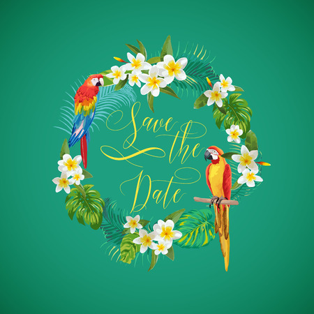 tropical flower: Save the Date Tropical Flowers Card - for Wedding, Invitation, Party - in vector Illustration