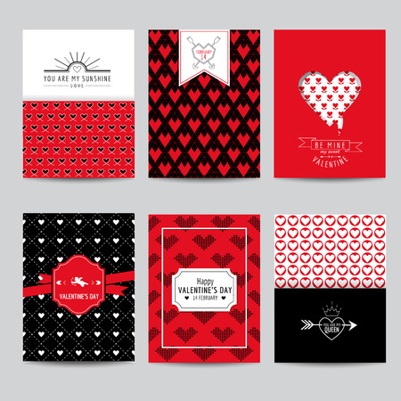 wedding day: Set of Love Cards - Wedding, Valentines Day, Invitation - in vector