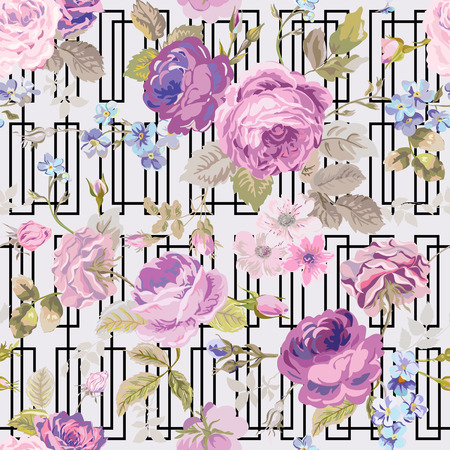 shabby: Spring Flowers Geometry Background - Seamless Floral Shabby Chic Pattern - in vector Illustration