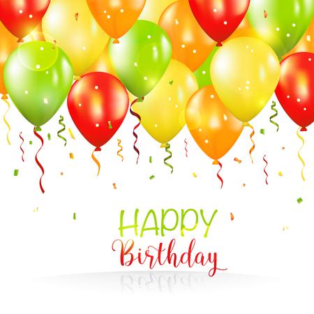 誕生日おめでとうそしてパーティー バルーン招待カード - ベクトルの - あなたのテキストのための場所