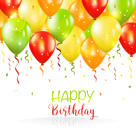 Happy Birthday and Party Balloon Invitation Card - with place for your text - in vector Çizim