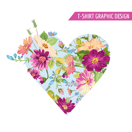 Floral Heart Graphic Design - voor t-shirt, mode, prints - in vector Stock Illustratie