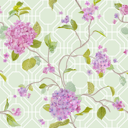 Vintage Hydrangea Geometry Background - seamless pattern for design, scrapbook - in vector