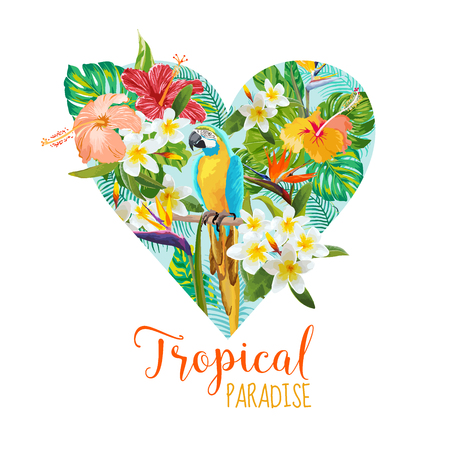 Floral Heart Graphic Design - Tropical Flowers and Bird - for t-shirt, fashion, prints - in vector
