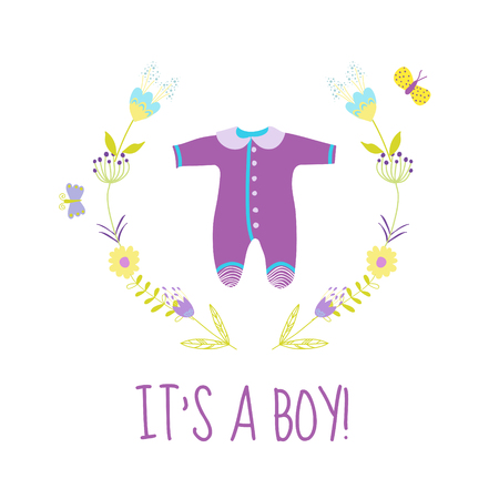 bodysuit: Baby Boy Shower or Arrival Card - with Cute Bodysuit - in vector