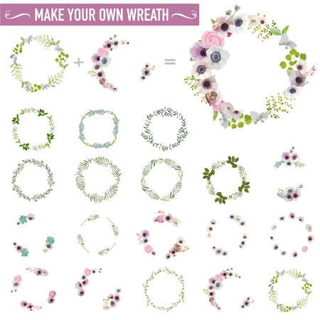 Vintage Flower Wreath Set - Watercolor Style - in vector Çizim