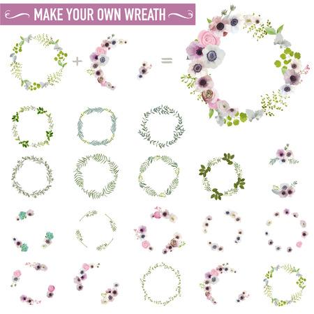 Vintage Flower Wreath Set - Watercolor Style - in vector Stock Illustratie