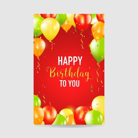 Joyeux anniversaire et invitation de partie de ballon carte - avec la place pour votre texte - dans le vecteur Vecteurs