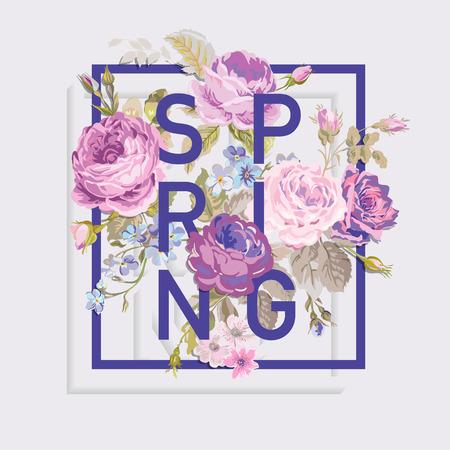 꽃 봄 그래픽 디자인 - 티셔츠, 패션, 인쇄에 - 벡터 일러스트