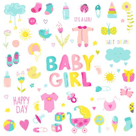 Baby Girl Design Elements - pour la conception et album - dans le vecteur