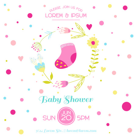 cute baby: Baby Girl Shower or Arrival Card - with Cute Socks - in vector