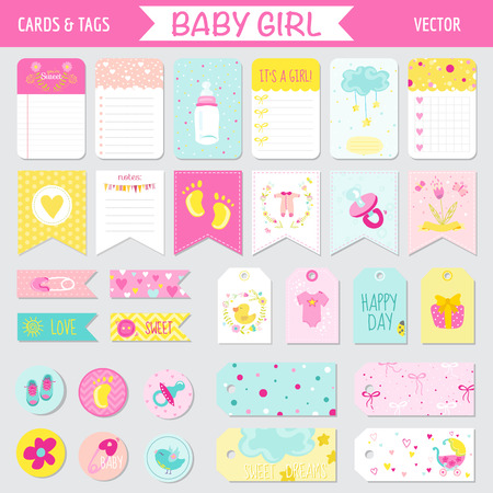 girl: Baby Girl Shower or Arrival Set - Tags, Banners, Labels, Cards - in vector