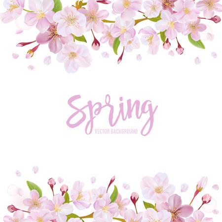 fleur cerisier: Cherry Blossom Spring Background - dans le vecteur Illustration