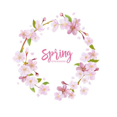 벚꽃 봄 배경 - 벡터 꽃 화환과 일러스트