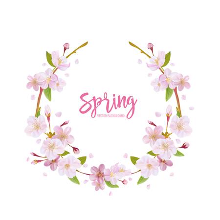 flor de cerezo: Antecedentes flor de cerezo de la primavera - con la guirnalda floral en el vector Vectores