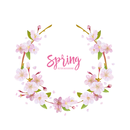 cherries: Cherry Blossom Spring Background - with Floral Wreath in vector