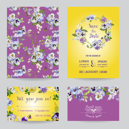 the spouse: Save the Date - Wedding Invitation or Congratulation Card Set - Flower Pansy Theme - in vector