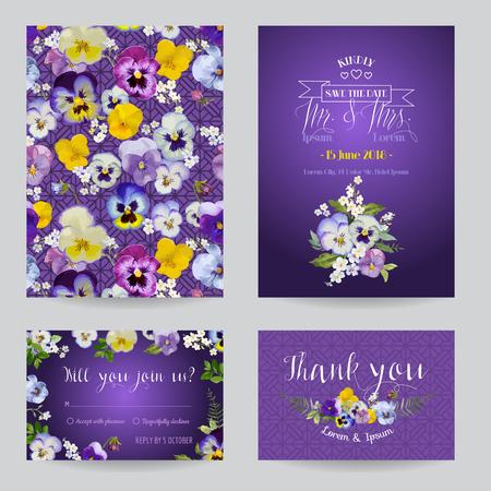 Sparen de Datum - Uitnodiging of felicitatie Card Set - Flower Pansy Theme - in vector