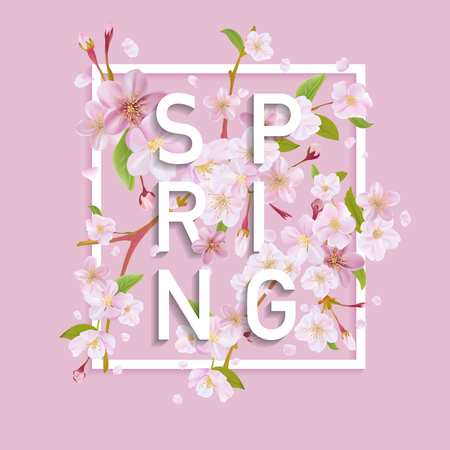 Floral Spring Graphic Design - - with Cherry Blossom Tree - for t-shirt, fashion, prints - in vector