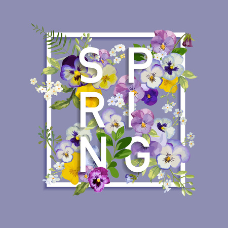 Floral Spring Graphic Design - with Pansy Flowers - for t-shirt, fashion, prints - in vector Çizim