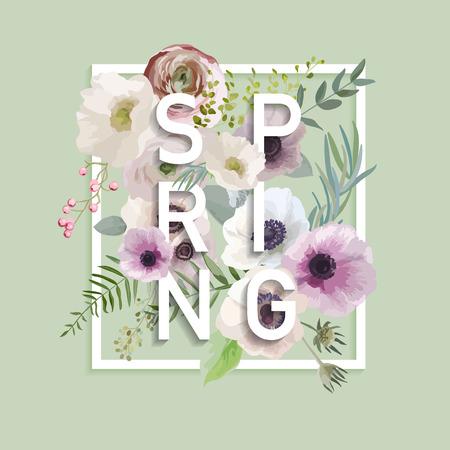 Floral Spring Graphic Design - con fiori Anemone - per t-shirt, moda, stampe - in formato vettoriale Archivio Fotografico - 51722799