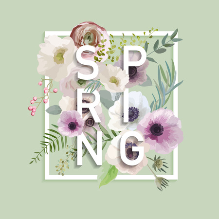 Floral Spring Graphic Design - with Anemone Flowers - for t-shirt, fashion, prints - in vector