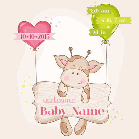 cute baby: Baby Girl Arrival Card - with Cute Baby Giraffe - in vector Illustration