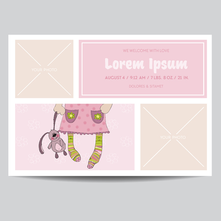 cute baby girl: Cute Baby Girl Arrival Card - for Baby Shower, Invitation - in vector
