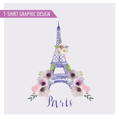 Floral de París Diseño Gráfico - para la camiseta, la moda, impresiones - en el vector