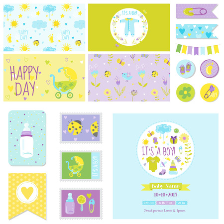 scrapbook: Baby Shower Little Boy Set - for Party Decoration, Baby Shower, Scrapbook, Birthday - in vector