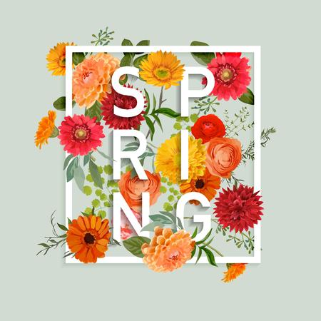 유행: 화려한 꽃과 함께 - - 꽃 봄 그래픽 디자인 티셔츠, 패션, 인쇄에 - 벡터