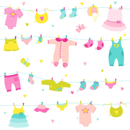 baby girl: Baby Girl Cute Background - for Baby Shower, Design and Scrapbook - in vector Illustration