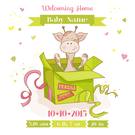 baby mother: Baby Giraffe in a Box - Baby Shower or Arrival Card - in vector