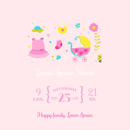 butterfly stationary: Baby Arrival Card - for design and scrapbook - in vector