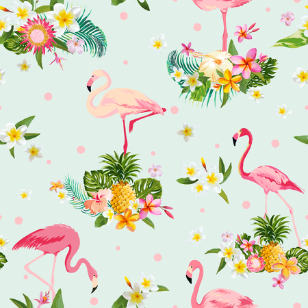 tropical bird: Flamingo Bird and Tropical Flowers Background - Retro seamless pattern - in vector